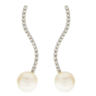 Pearls For You Sterling-silver White 8-mm Freshwater Pearl Diamond-cut Beading Earrings