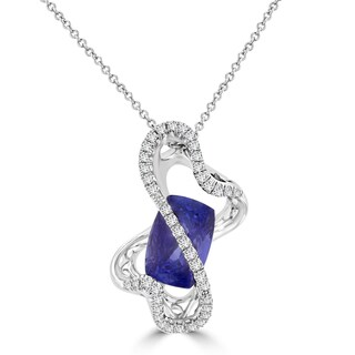 La Vita Vital 18k White Gold 6 3/4ct TGW Cushion-cut Tanzanite and 1/2ct TDW Diamond Necklace (G-H, SI1-SI2)
