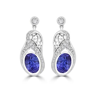 La Vita Vital 18k White Gold 3 1/5ct TGW Oval-cut Tanzanite and 1/4ct TDW Diamond Earrings (G-H, SI1-SI2)
