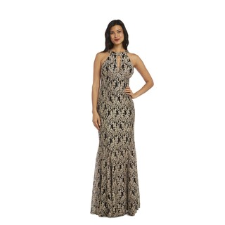 Nightway Gold/Black Lace Evening Gown