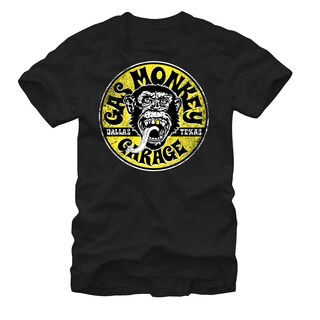 Officially Licensed Gas Monkey Garage 'Equipped' Men's Black Cotton Extended Size Graphic T-shirt