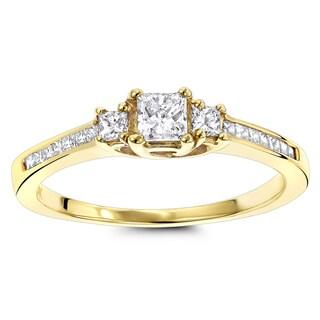 Luxurman Thin 14K Gold Diamond Three Stones Engagement Ring 0.72ct (H-I; SI1-SI2)
