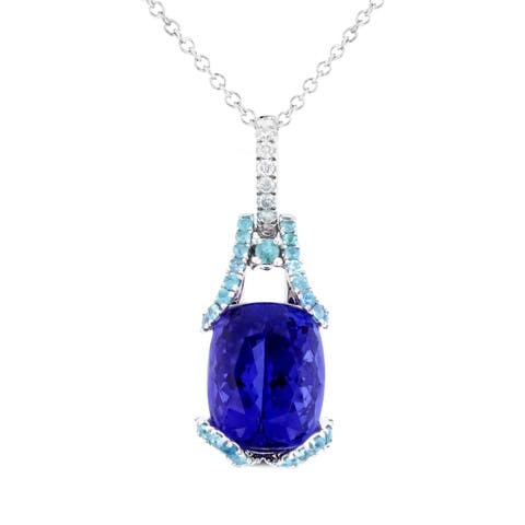La Vita Vital 18k Two-tone Tanzanite 7.15ct Paraiba Tourmaline 0.39ct and Diamond 0.09ct TDW Pendant/ Necklace