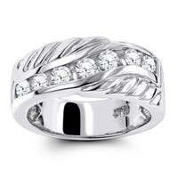 Luxurman Platinum 7/8 ct TDW Diamond Men's Wedding Band
