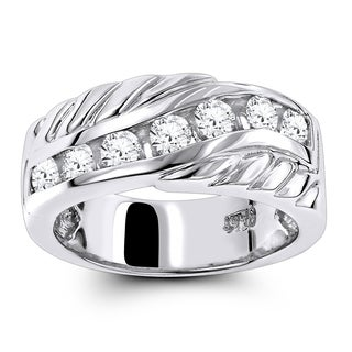 Luxurman Platinum 7/8 ct TDW Diamond Men's Wedding Band