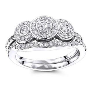 Luxurman 14K Gold 7/8ct TDW Diamond Unique Engagement Ring Set (H-I; SI1-SI2)