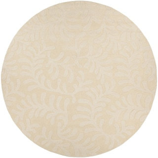 Artist's Loom Hand-tufted Transitional Floral Pattern White Color Wool Rug (8' Round)