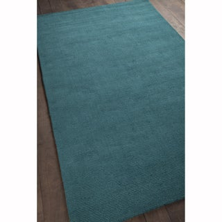 Artist's Loom Hand-tufted Casual Solid Pattern Blue Color Wool Rug (8'x11')