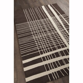 Artist's Loom Hand-Tufted Contemporary Plaid Pattern Wool Rug (8'x10')
