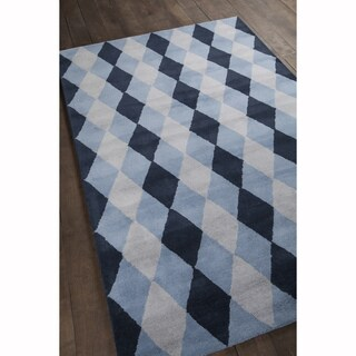 Artist's Loom Hand-Tufted Contemporary Argyle Pattern Blue Color Wool Rug (8'x10')