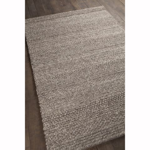 "Artist's Loom Hand-woven Contemporary Stripes Pattern Brown Color New Zealand Wool Rug (7'9""x10'6"")"