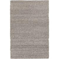 "Artist's Loom Hand-woven Contemporary Stripes Pattern Grey Color New Zealand Wool Rug (7'9""x10'6"")"
