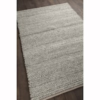 "Artist's Loom Hand-woven Contemporary Stripes Pattern Natural Color Wool Shag Rug (5'x7'6"")"