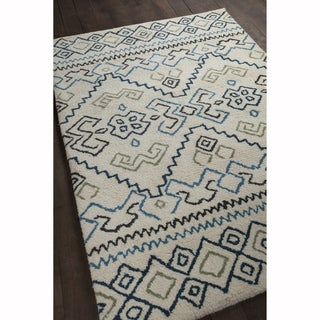 "Artist's Loom Hand-woven Contemporary Geometric Pattern Wool Shag Rug (5'x7'6"")"