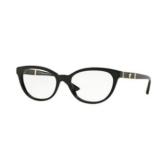 Versace Womens VE3219Q GB1 Black Plastic Oval Eyeglasses