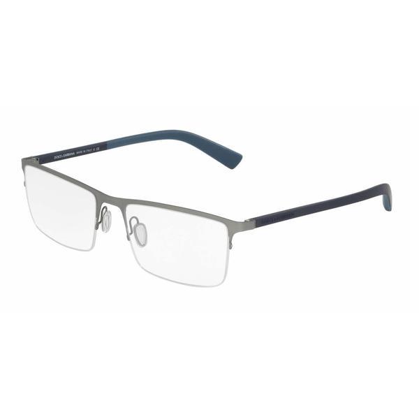 37d5414db7a3 Dolce  amp  Gabbana Mens DG1284 1262 Metal Rectangle Eyeglasses - Grey