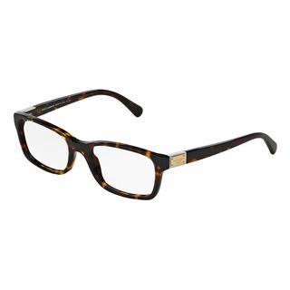 Dolce & Gabbana Womens DG3170 LOGO PLAQUE 502 Havana Plastic Rectangle Eyeglasses