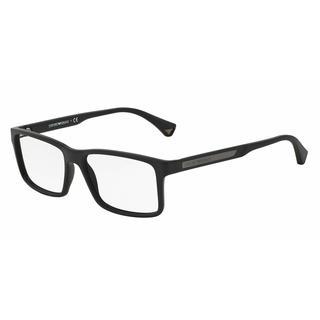 Emporio Armani Mens EA3038 5063 Black Plastic Rectangle Eyeglasses