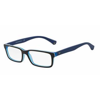 Emporio Armani Mens EA3061 5392 Black Plastic Rectangle Eyeglasses