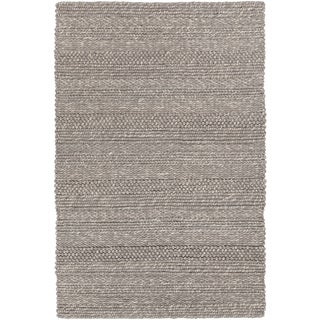"""Artist's Loom Hand-woven Contemporary Stripes Pattern Grey Color New Zealand Wool Rug (5'x7'6"""")"""