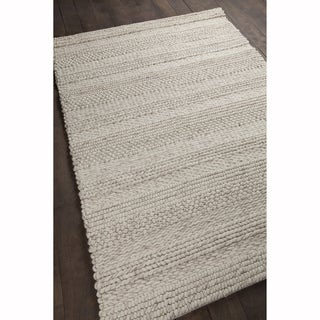 """Artist's Loom Hand-woven Contemporary Stripes Pattern Natural Color New Zealand Wool Rug (5'x7'6"""")"""