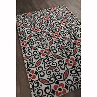 "Artist's Loom Hand-Tufted Transitional Floral Pattern Wool Rug (5'x7'6"")"