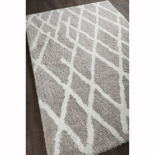"Artist's Loom Hand-woven Contemporary Geometric Pattern Shag Rug (5'x7'6"")"