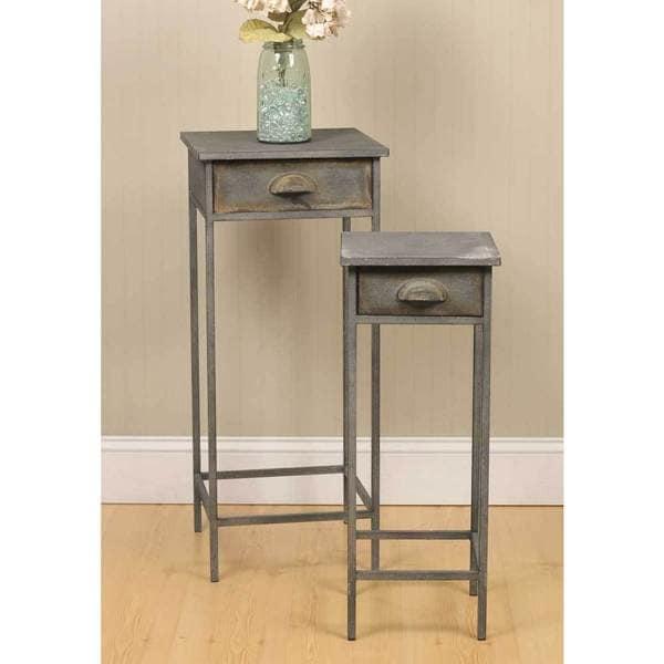 Grey Metal Bedside Tables (Set of 2)  sc 1 st  Overstock & Shop Grey Metal Bedside Tables (Set of 2) - Free Shipping Today ...