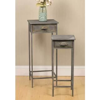 Grey Metal Bedside Tables (Set of 2)