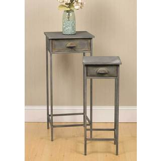 Grey Metal Bedside Tables (Set of 2)