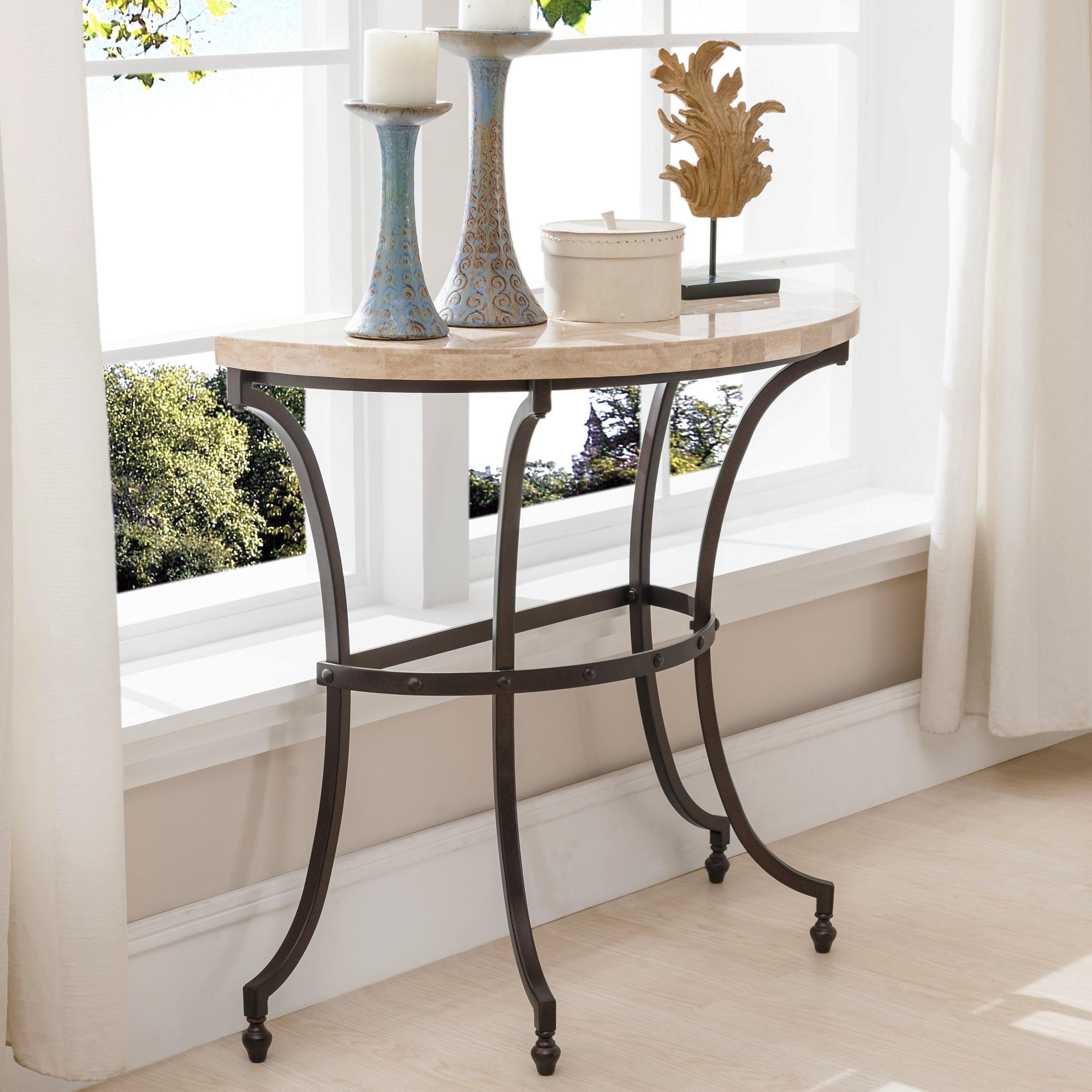 Copper Grove Lavender Travertine Stone Top Console Table W Rubbed Bronze Metal Base