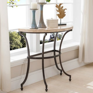 KD Furnishings Demilune Travertine Stone Top Console Table with Rubbed Bronze Metal Base