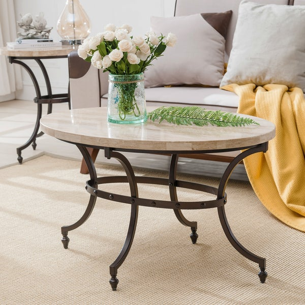 Clay Alder Home Holliwell Oval Travertine Stone Top Coffee Table W/ Base