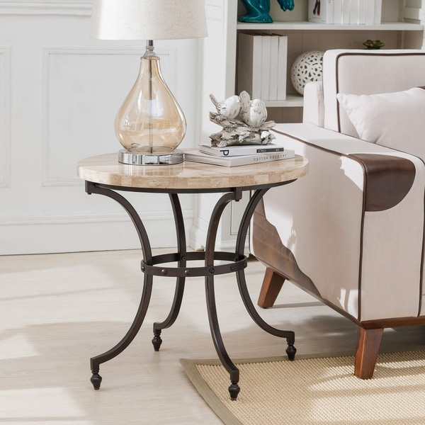 Stylecraft Barclay Brass 3 Piece Living Room Accent Table: KD Furnishings Tan/Black Steel Oval Travertine Stone Top