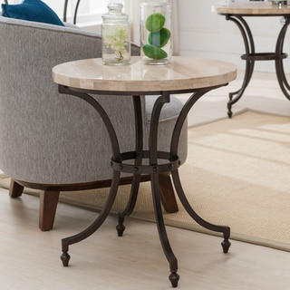 Round Travertine Stone Top Side Table with Rubbed Bronze Metal Base