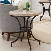 Clay Alder Home Holliwell Round Travertine Stone Top Side Table