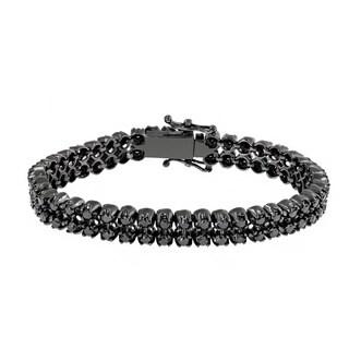 Luxurman 10k Gold 7ct TDW Black Diamond Tennis Bracelet