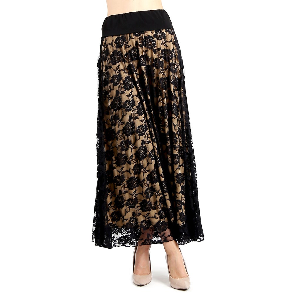 Evanese Womens Black/Tan Polyester Full Maxi Long Lace Skirt