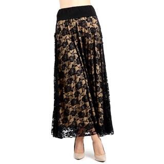Evanese Women's Black/Tan Polyester Full Maxi Long Lace Skirt
