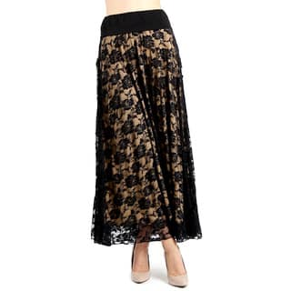 Evanese Women's Black/Tan Polyester Full Maxi Long Lace Skirt|https://ak1.ostkcdn.com/images/products/13806993/P20455893.jpg?impolicy=medium