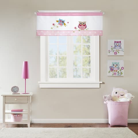 Mi Zone Kids Nocturnal Nellie Pink Printed and Applique Valance with Rod Pocket Top Finish