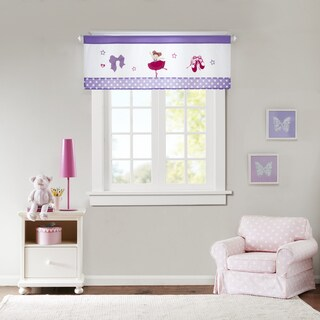 Mi Zone Kids Dancing Duchess Purple Embroidered and Applique Valance with Plush Mink Textured/ Border Design/ Rod Pocket Finish