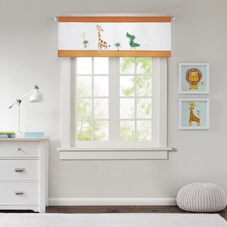 Mi Zone Kids Jungle Josh Orange Embroidered and Applique Valance with Plush Mink Textured/ Border Design/ Rod Pocket Finish