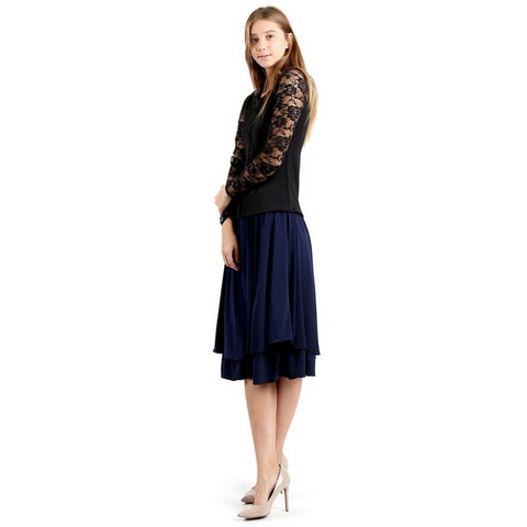 Evanese Women's Polyester Double Layered Scoop Top Layer Godet Contemporary A-line Skirt