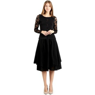 Evanese Women's Black Cotton Layered Scoop Top Layer Godet Contemporary A-line Skirt|https://ak1.ostkcdn.com/images/products/13807080/P20455895.jpg?_ostk_perf_=percv&impolicy=medium