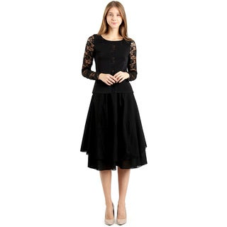 Evanese Women's Black Cotton Layered Scoop Top Layer Godet Contemporary A-line Skirt