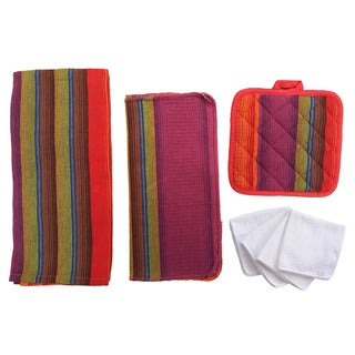 Home Basics Malibu Striped 8-piece Kitchen Towel and Pot Holders Set