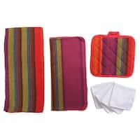 Home Basics Malibu Striped 8-piece Kitchen Towel and Pot Holders Set