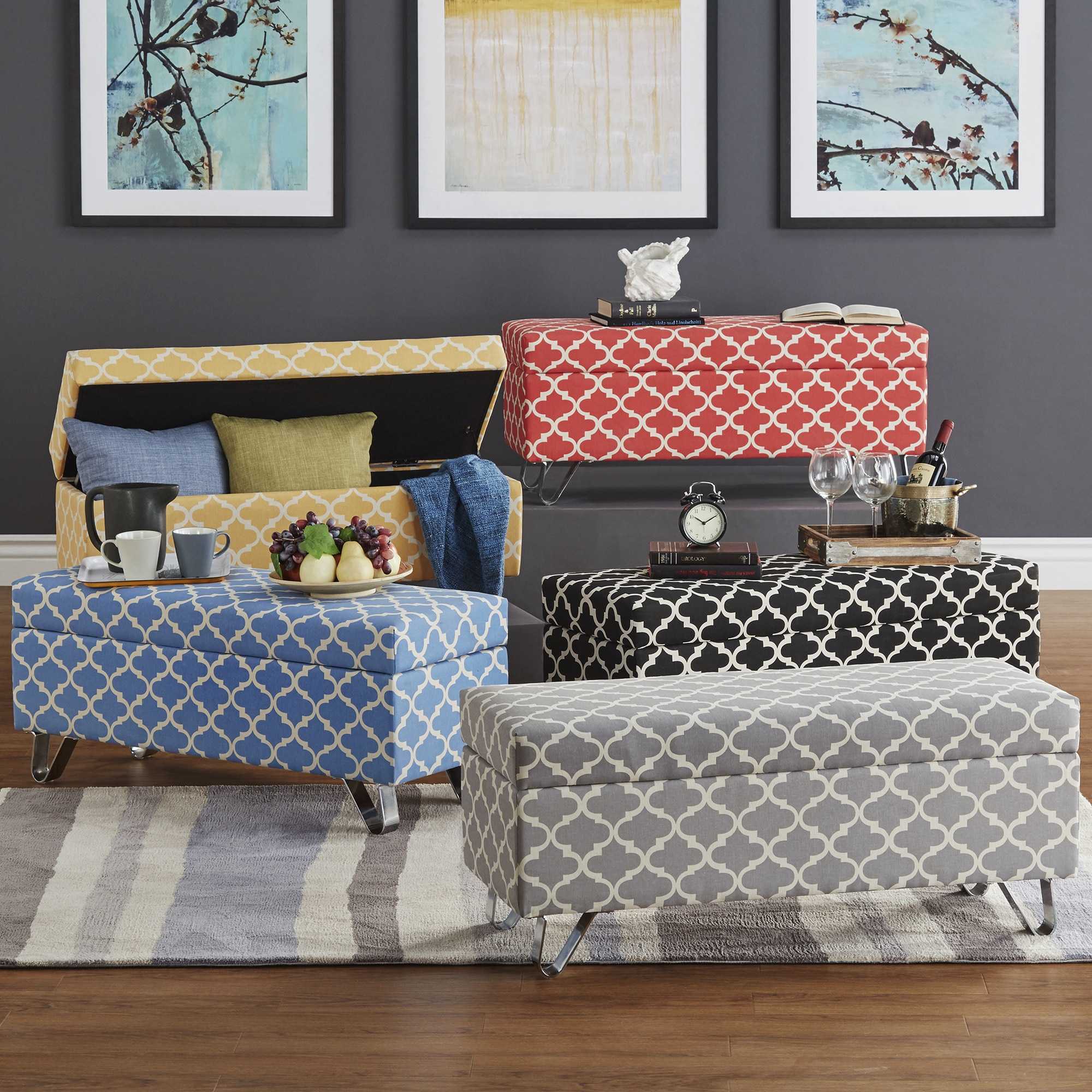 Tangier Moroccan Print Fabric Lift Top Storage Bench with...