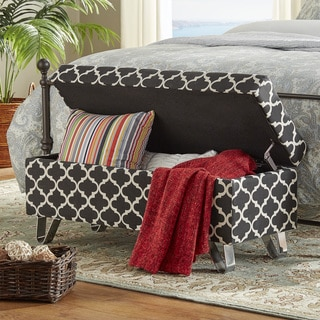 Tangier Moroccan Print Fabric Lift Top Storage Bench with Metal Legs by INSPIRE Q